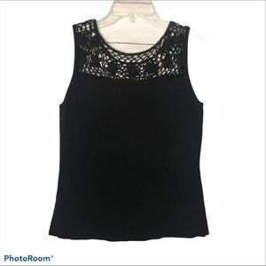 Joseph A.  crocheted top black size L